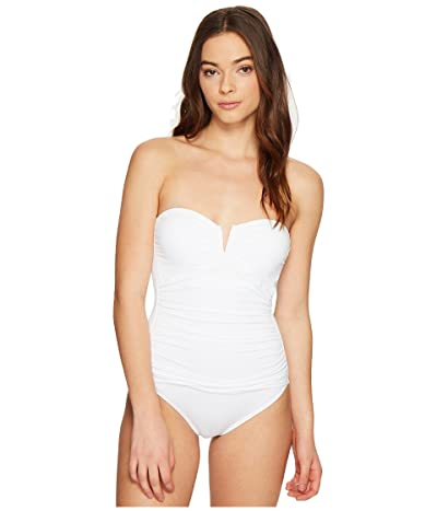 Tommy Bahama Pearl V-Front Bandeau One-Piece Swimsuit (White) Women