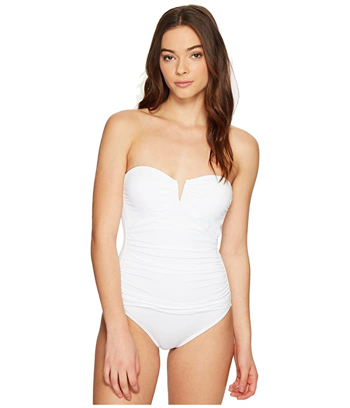 Tommy Bahama  Pearl V-Front Bandeau One-Piece Swimsuit (White) Womens Swimsuits One Piece