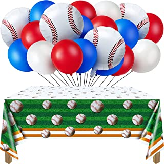 52 Pieces Baseball Themed Birthday Party Decorations Include 1 Baseball Table Cover, 6 Baseball Foil Balloons and 45 Latex...