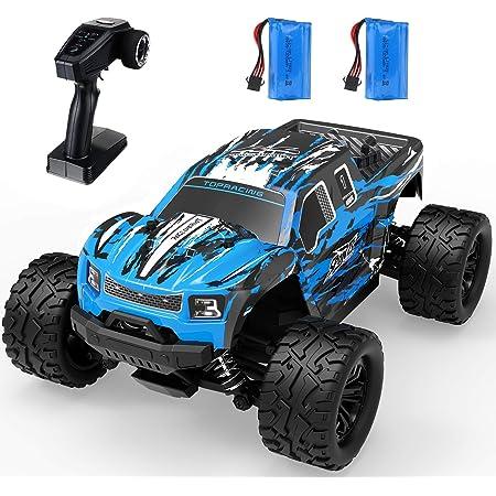 EACHINE Coche Teledirigido EC08, RC Coche Todoterreno, 1/16 Escala 2WD Control Remoto Coche Off-Road Monster Truck 40 Km/h 65 Minutoss Velocidad para Niños Adultos (2 Baterías)