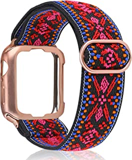 TOYOUTHS Compatible with Apple Watch Band Solo Loop with Protective Case 42mm/44mm Adjustable Elastic Scrunchies Nylon Strap Women Stretchy Wristband iWatch Series SE/6/5/4/3/2/1 (Aztec Style Red)