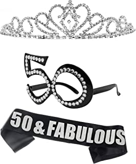 50th Birthday Party Sash Tiara and Glasses, 50 and Fabulous Party Props Decorations Supplies Sash and Crown Photo Props PixWorthy