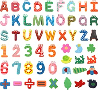 53 Pieces Magnetic Letters Fridge Wooden Alphabet Magnets Novelty Cartoon Animals Numbers Letters Refrigerator Magnets Woo...