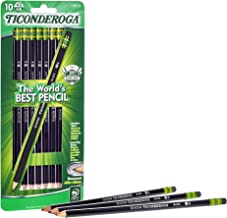TICONDEROGA Pencils, Wood-Cased Graphite #2 HB Soft, Pre-Sharpened, Black, 10-Pack (13915)