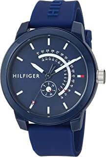 Tommy Hilfiger Men's Quartz Watch with Silicone Strap, Blue, 18.6 (Model: 1791482)