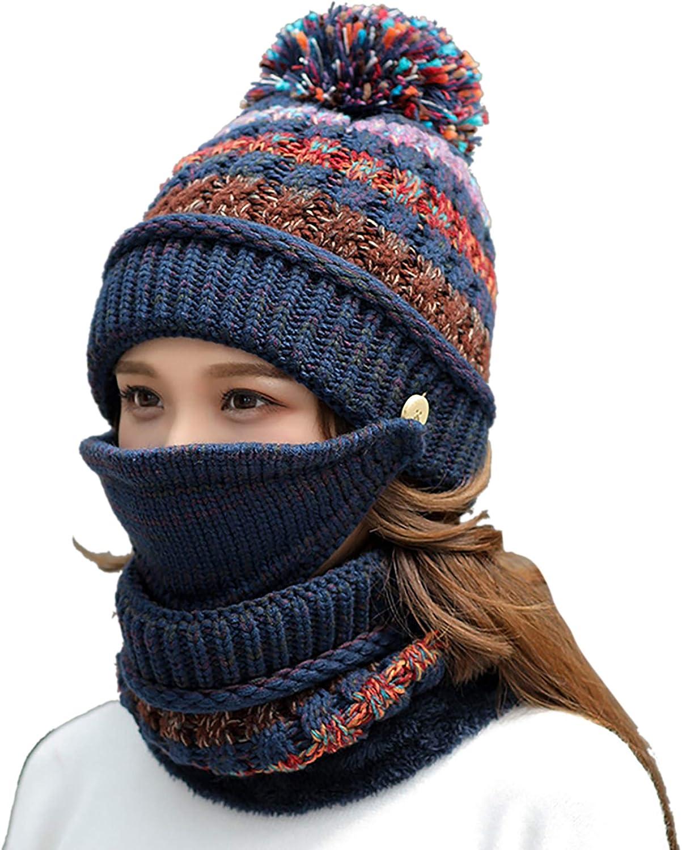 Max 41% OFF FANZERO Womens Girls Knit Beanie Scarf Mask 5 ☆ popular Fleece Set Warm Soft