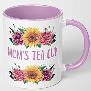Mother's Day Gift From Son, Daughter, Husband. Mom's Tea Cup. Decorative Pink Floral Coffee Mug. I Love You Mom For Birthd...