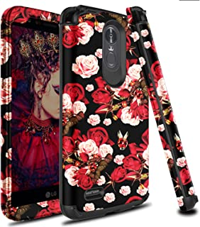 LG Stylo 3 Case, LG Stylus 3 Case, Zenic 3 in 1 Hybrid Shockproof Hard Protective Case Cover for LG Stylo 3 / Stylus 3 / LS777-Fresh Rose Flowers Case