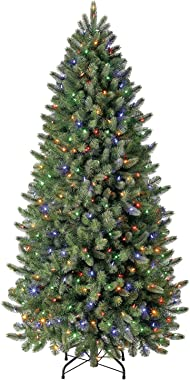 Evergreen Classics 6.5 ft Pre-Lit Vermont Spruce Quick Set Artificial Christmas Tree, Remote-Controlled Color-Changing LED Li