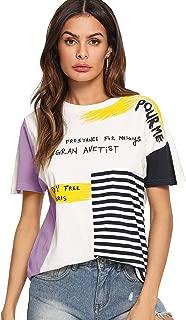 SheIn Women's Graphic Cute Short Sleeve Crewneck T-Shirt Casual Letter Print Top