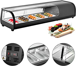 VBENLEM 1.83 cu.ft. Sushi Bar Showcase 5 x 1/3GN Trays Countertop Sushi Cooler Display Refrigerators 52L Prep Station with Tempered Glass ABS Shell Suit for Commercial Restaurants Bakeries Bars