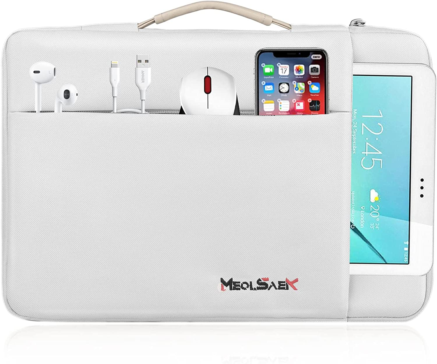 Meolsaek 15.6 Inch Laptop Sleeve Case for 15.6 inch HP, Dell, Lenovo, Notebook, Durable Laptop Carrying Computer Case for ASUS ZenBook Pro,Water-Resistant Hard Shell Case with Handle (15.6 Inch Gray)