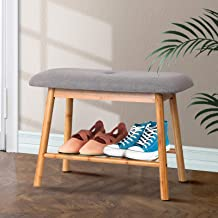 Artiss 49cm Length Fabric Upholstered Shoe Bench, Bamboo Entryway Storage Rack