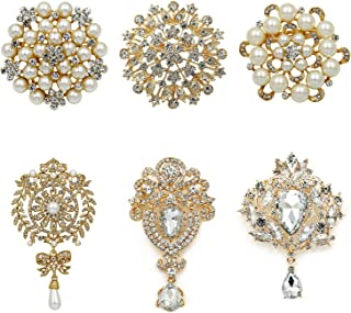 Silver/Gold Plated Assorted Crystal Rhinestones Brooch Pins Set for DIY Wedding Bouquets Kit