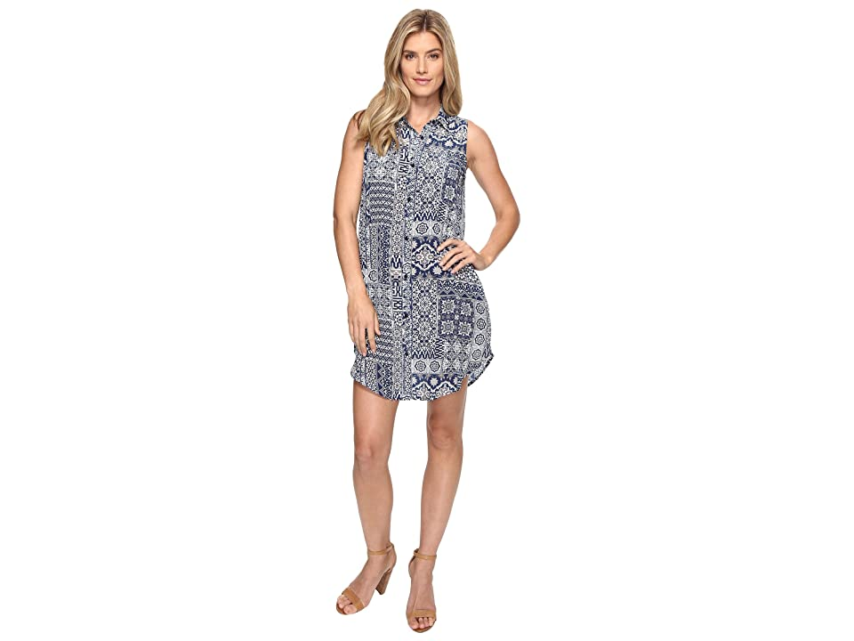 Tolani Holly Sleeveless Tunic Dress (Navy Patchwork) Women
