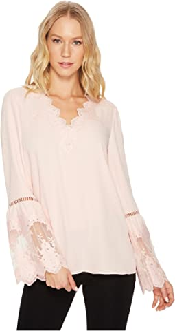 CATHERINE Catherine Malandrino - Long Sleeve Blouse w/ Lace Applique & Trim