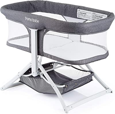 Pamo Babe 2in1 Bassinet Quick Foldable Travel Crib Portable Rocking Bassinet(Grey)
