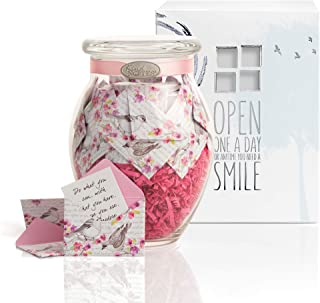 KindNotes Glass Keepsake Gift Jar with Fighting Cancer Messages - Birds and Flowers