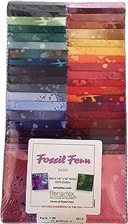 Fossil Fern Darks Pre-Cut Strips 40 Units 2.5-inch by Benartex (Standard Pack)