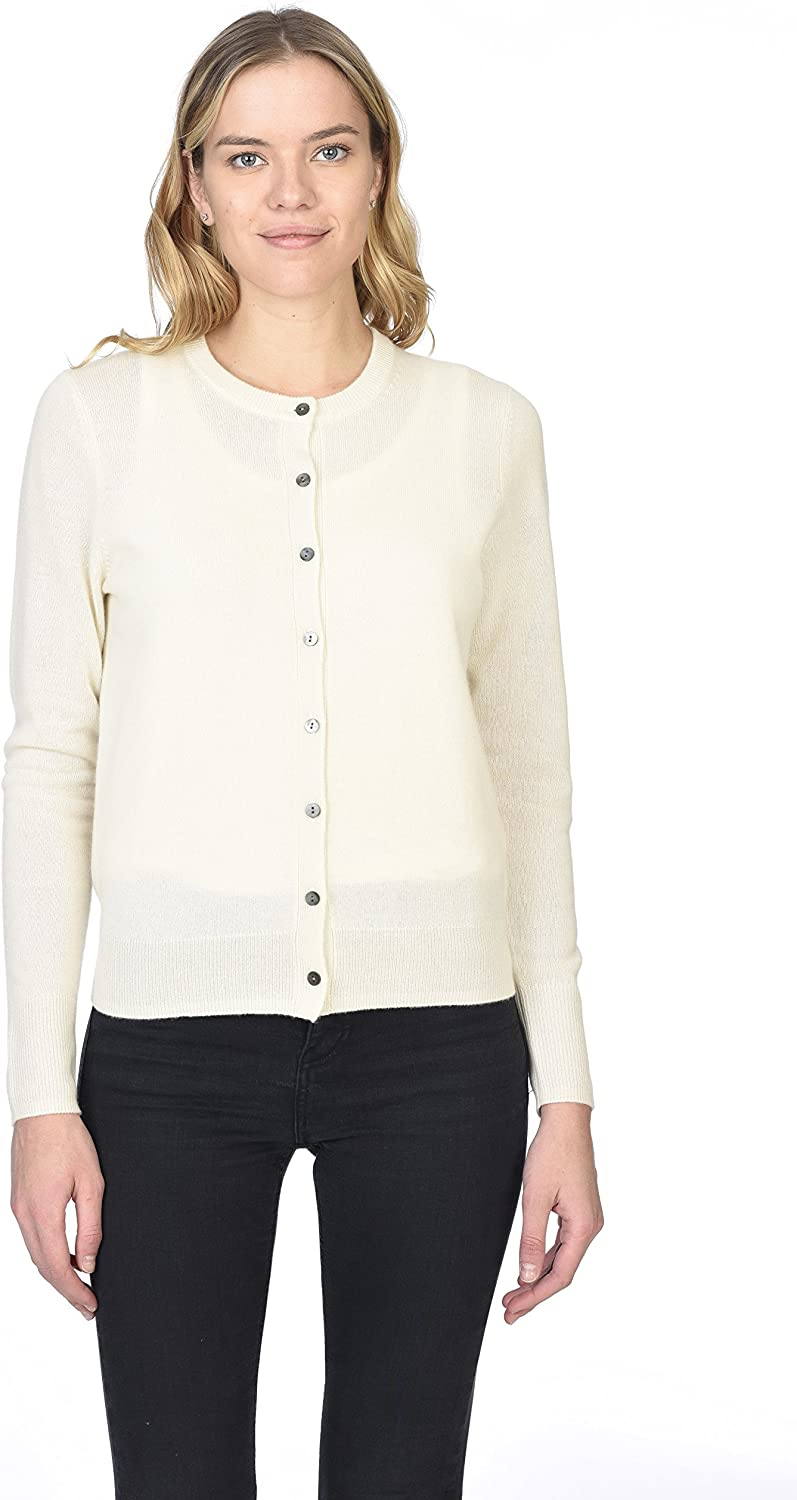 State Cashmere Women's 100% Cashmere Button Front Crew Neck Cardigan Sweater