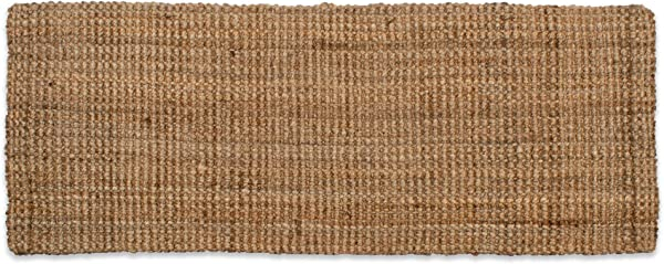 Neutral Eco Friendly Sturdy Rolled Natural Indoor Outdoor Jute Rug 22x60 Reversible For Double The Wear Gold