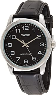 Casio Men's Black Dial Leather Analog Watch - MTP-V001L-1BUDF