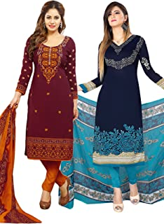 Salwar Studio Women's Pack of 2 Synthetic Unstitched Dress Material Combo-MONSOON-2155-2162