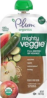Plum Organics Mighty Veggie Organic Toddler Food, Zucchini, Apple, Watermelon & Barley, 4oz Ounce Pouch