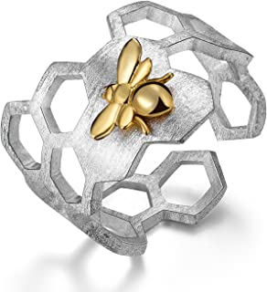 S925 Sterling Silver Rings Handmade Unique Thumb Ring Natural Open Honeycomb Bee Jewelry Gift for Women and Girls