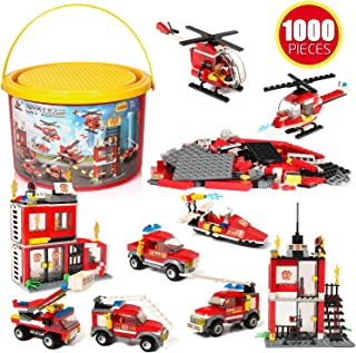 Building Blocks Fire Station City Seas Emergency Rescue Vehicles, 1000 Pcs 9 Models, Exercise N Play Early Learning Creative DIY Assembling Brick Toys for Boys Girls Toy Bucket