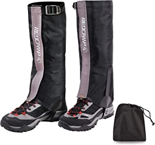 REDCAMP Waterproof Snow Gaiters for Hiking, Durable 600D Oxford Leg Gaiters for Men and Women, Lightweight Boot Gaiters with Carry Bag, Black Small Medium Large