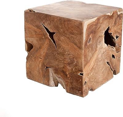 MACABANE Cube Bois Nature, Teck, 40 x 40 x 40 cm