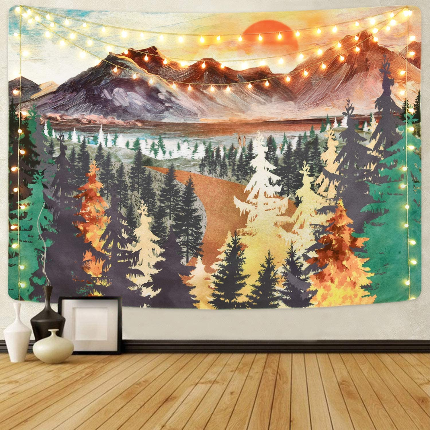 Mountain Tapestry trend rank Forest Wall Natu Sunset Tree Shipping included