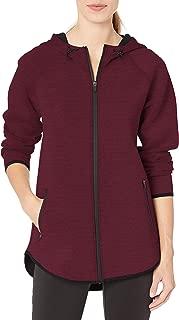 Amazon Essentials Women's Longer Length Tech-Sport Knit Full-Zip Hooded Jacket, Burgundy Spacedye, X-Small