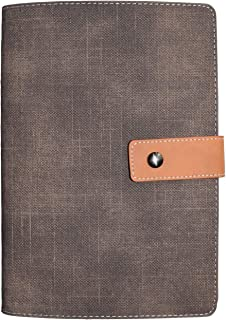 Leather Journal Notebook Pen Loop, Loose Leaf Refillable Metal A5 Binder, Watermill Denim Canvas Pattern, Lined and Blank Paper Choice for Daily Writing, Plan Making, Cool Notebook Gift (Coffee Lined)