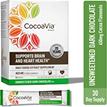 CocoaVia Heart & Brain Supplement, Dark Chocolate Flavor, Unsweetened Drink Mix l Vegan and Plant Based l Cocoa Flavanol S...