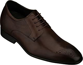CALTO Men's Invisible Height Increasing Elevator Shoes - Brown Premium Leather Lace-up Formal Oxfords - 2.8 Inches Taller - Y50241 - Size 6 D(M) US