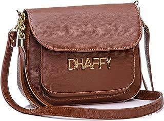 Bolsa Feminina Dhaffy Marrom, Alça Transversal, Bolso na Frente.