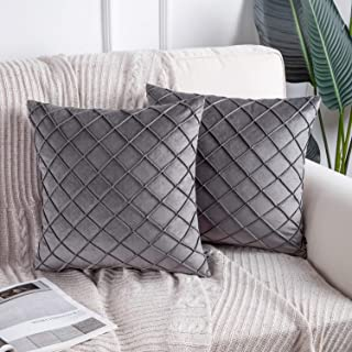 Phantoscope Pack of 2 Grey Soft Cozy Velvet Folder Throw Pillow Solid Square Cushion Cover 18 x 18 inches 45 x 45 cm