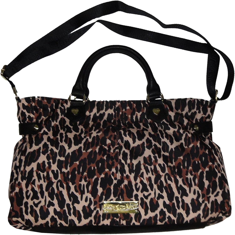 Betsey Johnson Cheetah Punk 2 Zip Natural Satchel