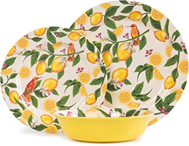 12 Piece Melamine Dinnerware Set-Dishes Set for Everyday Use, Dishwasher safe, Service for 4, Lemon Pattern