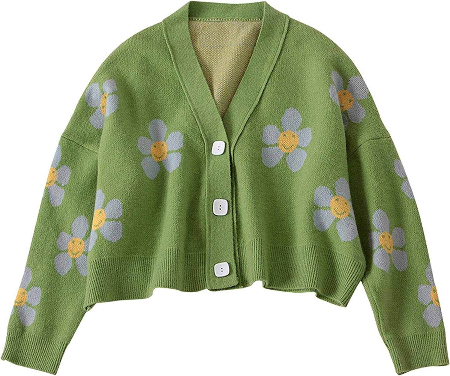 Uaneo Womens Knit Floral Print V Neck Button Front Cropped Cardigan Sweaters(Green-One Size)