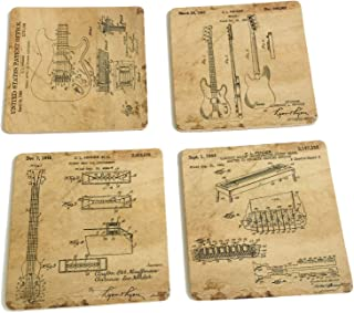Original fender Guitars Patent Art Cork coasters for drinks - 4
