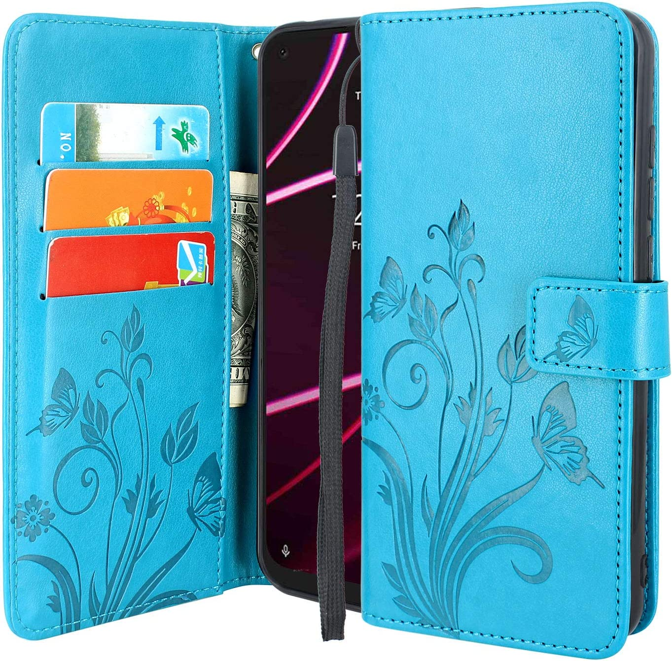 Lacass Floral Butterfly PU Leather Flip Wallet Case Cover Kickstand with Card Slots and Wrist Strap for T-Mobile Revvl 5G (Blue)
