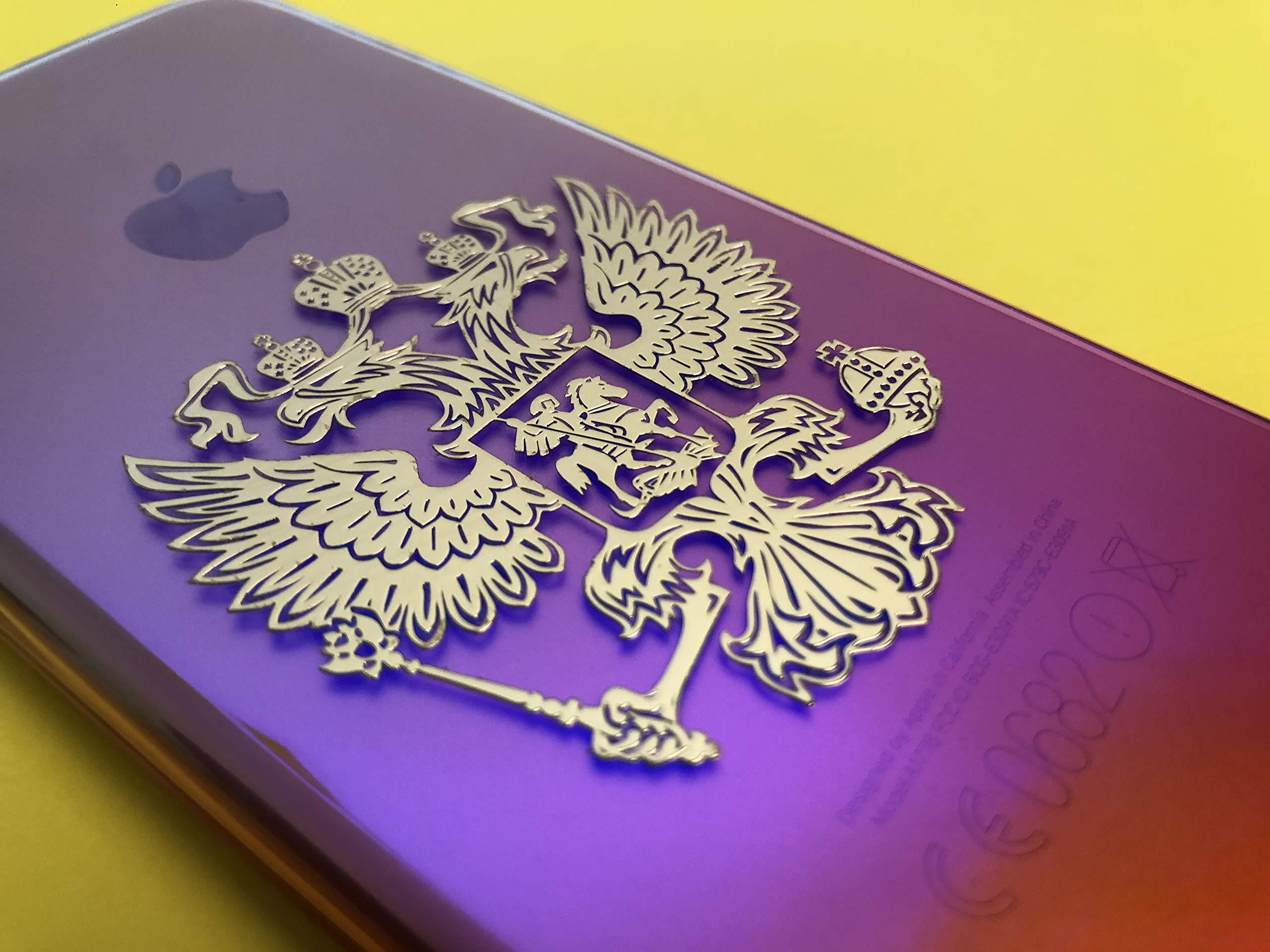 Pegatinas en 3D con escudo de /águila rusa en oro peque/ño de la marca Rusia.