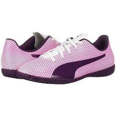 Puma Kids Spirit IT Soccer (Little Kid/Big Kid) (Puma White/Shadow Purple/Knockout Pink) Girls Shoes