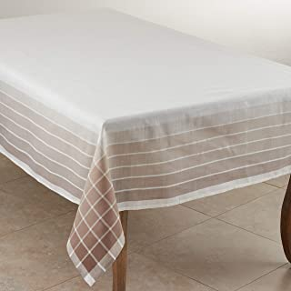 "SARO LIFESTYLE Café Roma Collection Striped Design Tablecloth, 65"" x 160"", Ivory"