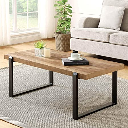 FOLUBAN Rustic Coffee Table,Wood and Metal Industrial Cocktail Table for Living Room, 47 Inch Oak