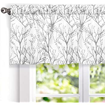DriftAway Tree Branch Abstract Ink Printing Lined Thermal Insulated Window Curtain Valance Rod Pocket 52 Inch by 18 Inch Plus 2 Inch Header Silver Gray 1 Pack