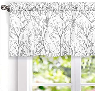 DriftAway Tree Branch Abstract Ink Printing Lined Thermal Insulated Window Curtain Valance Rod Pocket 52 Inch by 18 Inch Plus 2 Inch Header Gray Sliver